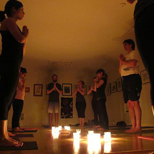 2011 - We did 54 Moon Salutations by candle light.